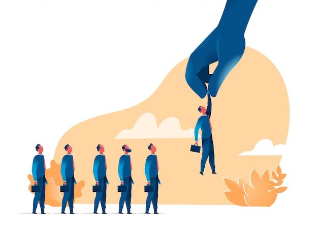 Seleção da força de vendas, recrutamento, headhunting. empresários de colheita de mão