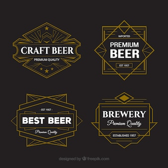 Seleção de adesivos de cerveja com design geométrico