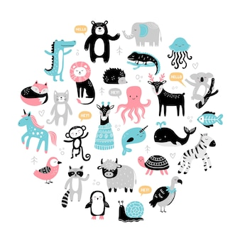 Seleção de animais fofos desenhados à mão