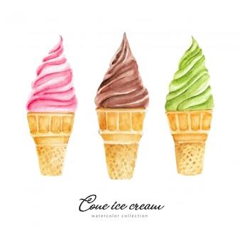 Seleção de casquinhas de sorvete em aquarela