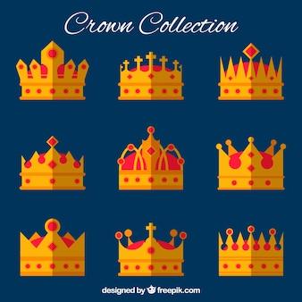 Seleção de coroas com gemas vermelhas em desenho plano