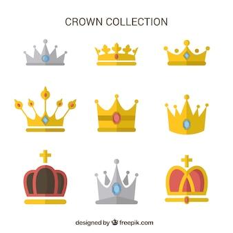 Seleção de coroas de luxo com diferentes desenhos