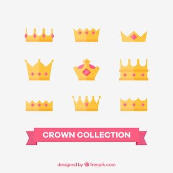 Seleção de coroas de princesa com pedras preciosas rosa