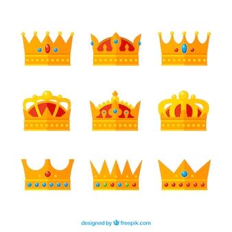 Seleção de coroas planas com pedras preciosas