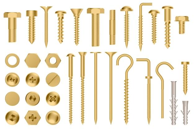 Seleção de designs de parafusos dourados