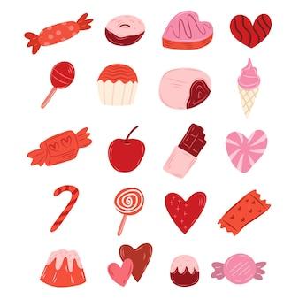 Seleção de doce estilo doodle em barra de chocolate