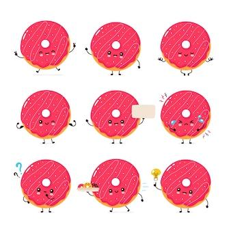 Seleção de donuts fofos