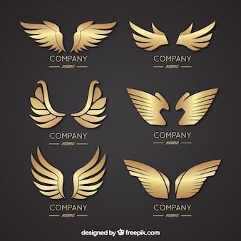 Seleção de elegantes logotipos de asa