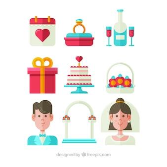 Seleção de elementos de casamento plano