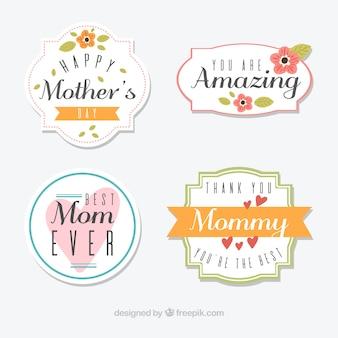 Seleção de emblemas dia quatro de mãe decorativa