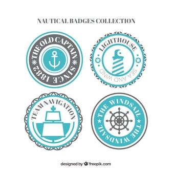 Seleção de emblemas náuticas azuis
