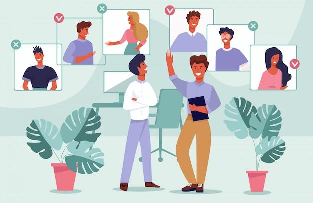 Seleção de equipe de cartaz informativo cartoon flat