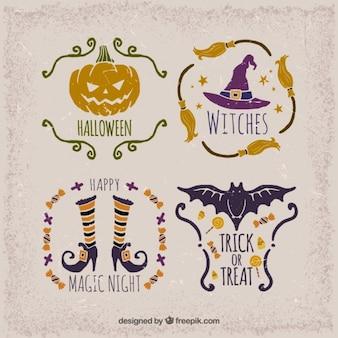 Seleção de etiquetas do vintage para o dia das bruxas