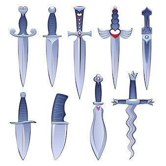 Seleção de facas e adagas