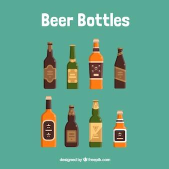 Seleção de frascos coloridos de cerveja