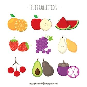 Seleção de frutas planas