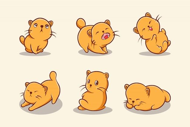 Seleção de gatinhos fofos desenhados à mão