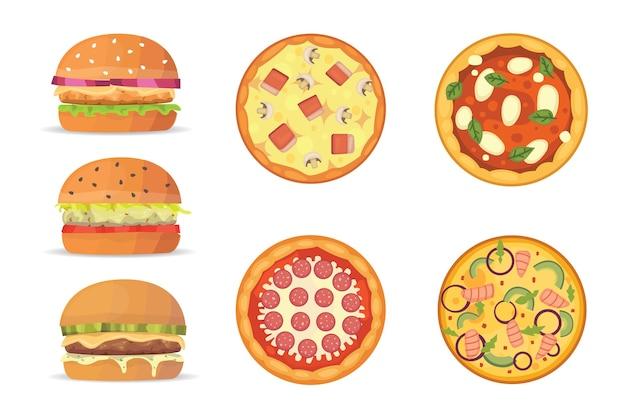 Seleção de hambúrgueres e pizza