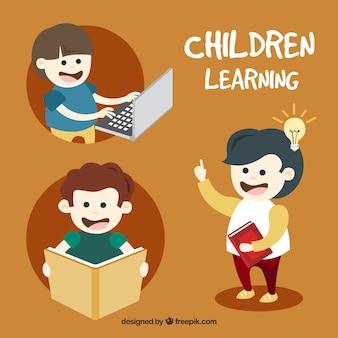 Seleção de miúdos felizes aprendendo
