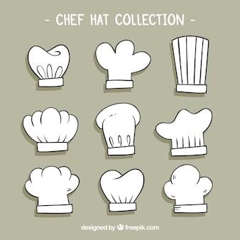 Seleção de nove chapéus desenhados mão do cozinheiro chefe