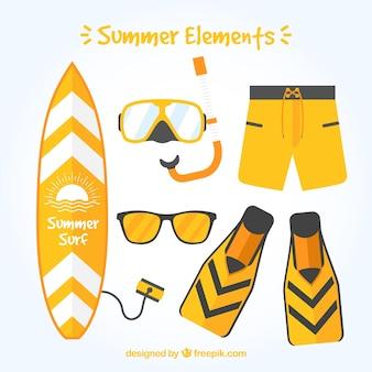 Seleção de objetos amarelos de verão