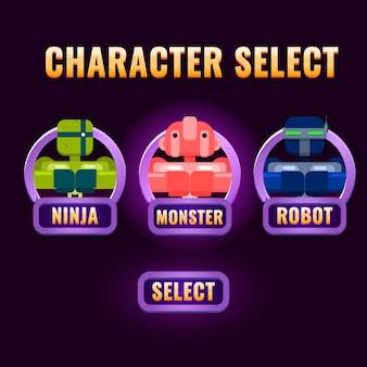 Seleção de personagem da interface do usuário do jogo roxo arredondado