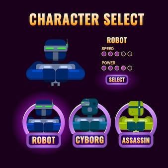 Seleção de personagem da interface do usuário do purple game