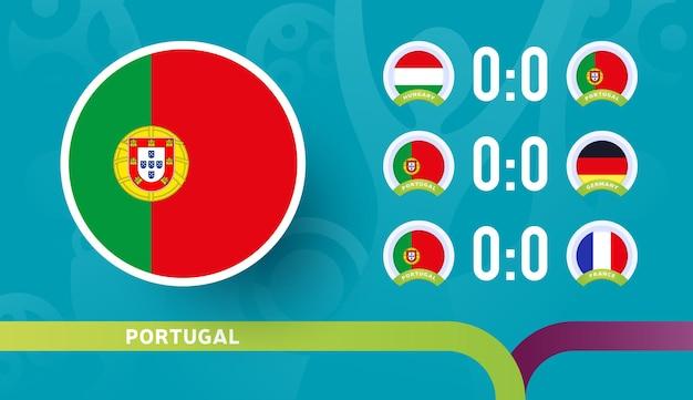 Seleção de portugal programar partidas da fase final do campeonato de futebol de 2020
