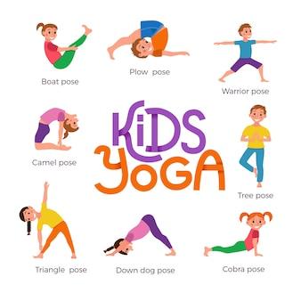 Seleção de poses de ioga para crianças