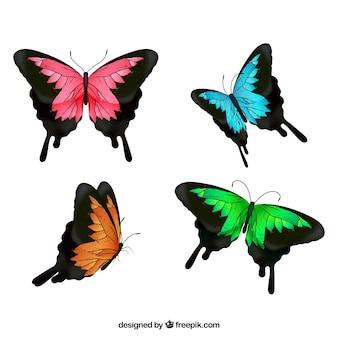 Seleção de quatro borboletas coloridas
