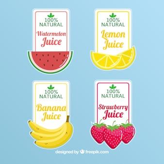 Seleção de quatro etiquetas de suco de frutas