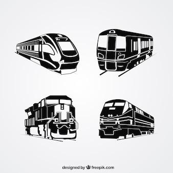 Seleção de quatro silhuetas de trem