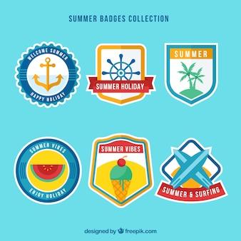 Seleção de seis emblemas de verão em design plano