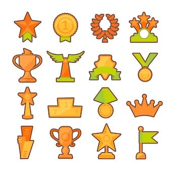 Seleção de taças de ouro para prêmios esportivos