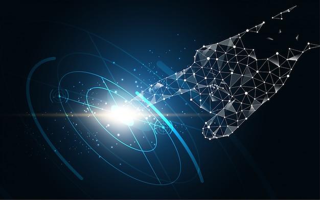 Seleção de toque de mão futura tecnologia abstrata