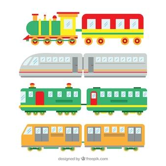 Seleção de trens de brinquedo com desenhos bonitos