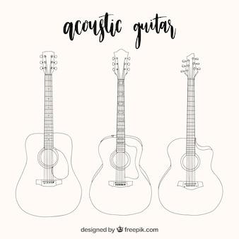 Seleção de três guitarras acústicas em estilo desenhado à mão