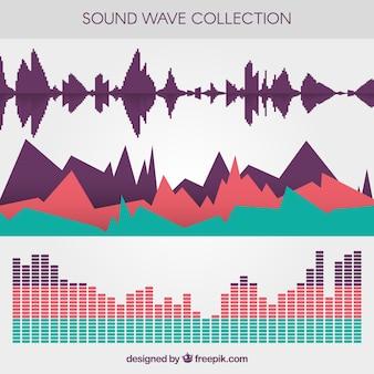 Seleção de três ondas sonoras coloridas em design plano