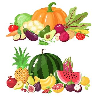 Seleção de vegetais e frutas