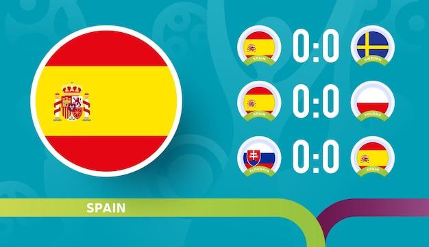 Seleção espanhola programar partidas na fase final do campeonato de futebol de 2020