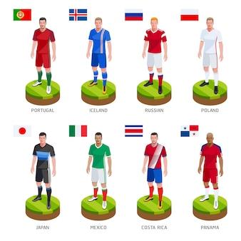 Seleção mundial de camisa de jogador de futebol do grupo Vetor Premium