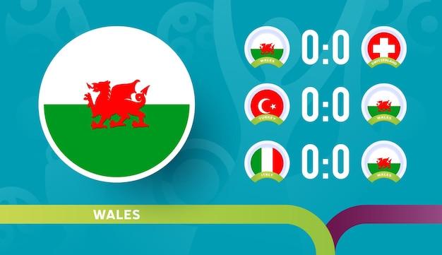 Seleção nacional do wales agenda jogos da fase final do campeonato de futebol de 2020