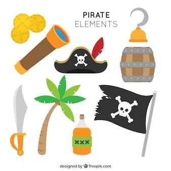 Seleção plana de elemento pirata