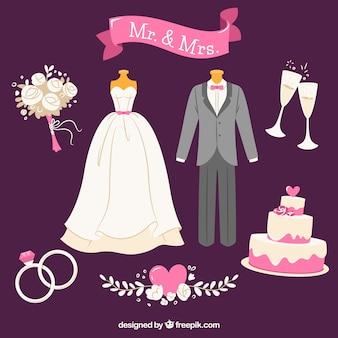 Seleção plana de elementos de casamento com detalhes cor de rosa
