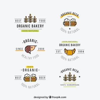 Seleção plana de etiquetas de alimentos orgânicos