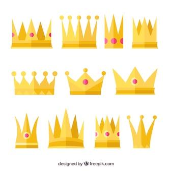 Seleção plana de nove coroas de ouro