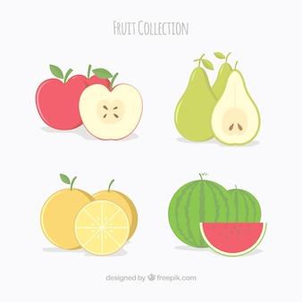 Seleção plana de quatro frutas saborosas