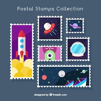 Seleção plana de selos postais