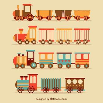 Seleção plana de trens vintage
