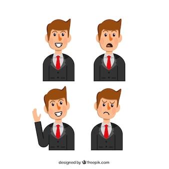 Seleção plano de carácter empresário com quatro rostos expressivos